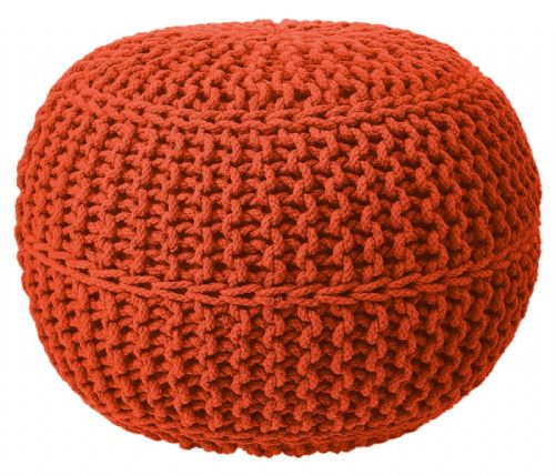 100% Cotton Round Foot Stool Braided Handmade Moroccan Cushion Double Knitted Pouffe Tango Colour